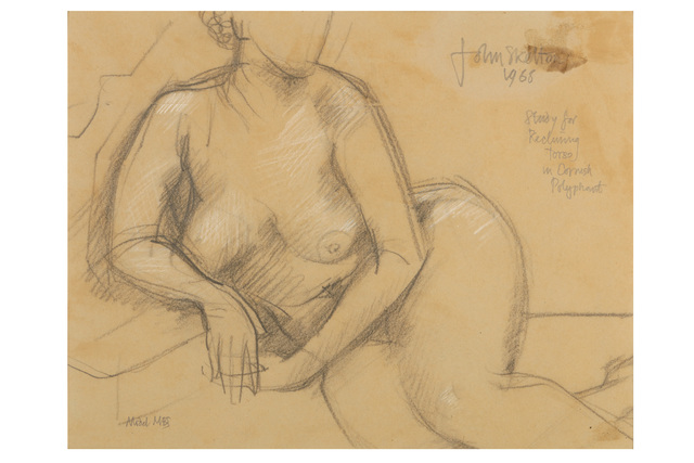 JOHN SKELTON, 'Study for reclining torso in Cornish Polyphant', Drawing, Collage or other Work on Paper, Pencil and chalk on brown paper, Chiswick Auctions