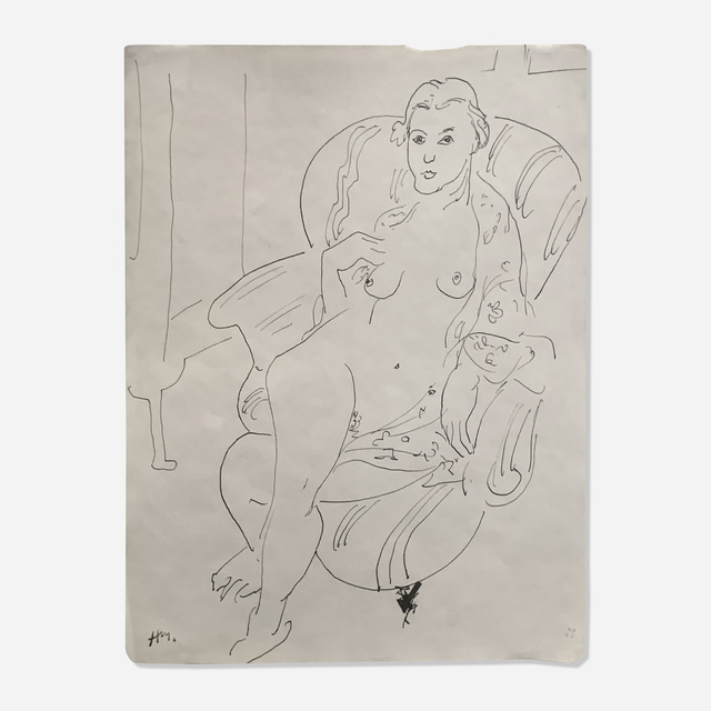 Henri Matisse, 'Femme Nue Assise Dans Un Fauteuil', c. 1926-27, Drawing, Collage or other Work on Paper, Pen and ink on paper, Artsy x Rago/Wright