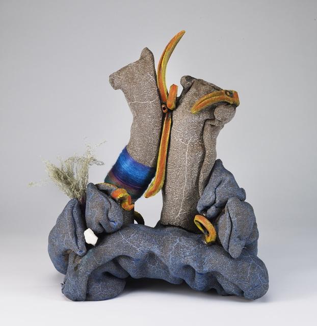 Ashwini Bhat, 'Assembling California: Sky Trail', 2019, Sculpture, Clay, underglaze, glaze, thread, feldspar and lace lichen, Shoshana Wayne Gallery