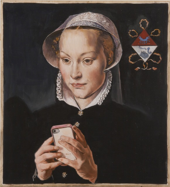 , 'The Text Message after Pieter Pourbus's Portrait of a Married Lady of Bruges and Images from Keith Haring,' 2013, Francis M. Naumann Fine Art