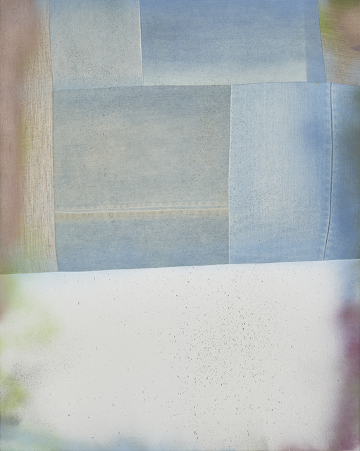 Fay Shin, 'Drink up the Sky', 2020, Painting, Denim, linen, spray on canvas, silk thread, GALLERY SU: