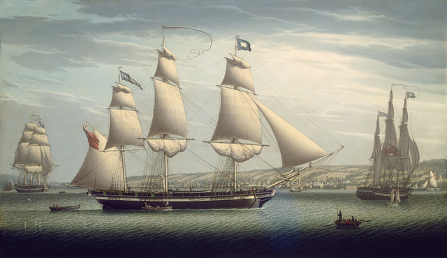 "Robert Salmon, 'The Ship ""Favorite"" Maneuvering Off Greenock', 1819, Painting, Oil on canvas, National Gallery of Art, Washington, D.C."