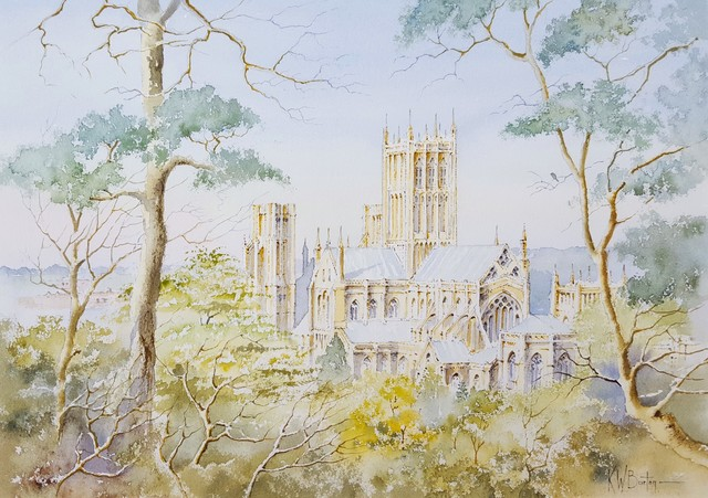 Ken Burton, 'Wells Cathedral, Wells, UK', 1988, Drawing, Collage or other Work on Paper, Watercolor, Graves International Art
