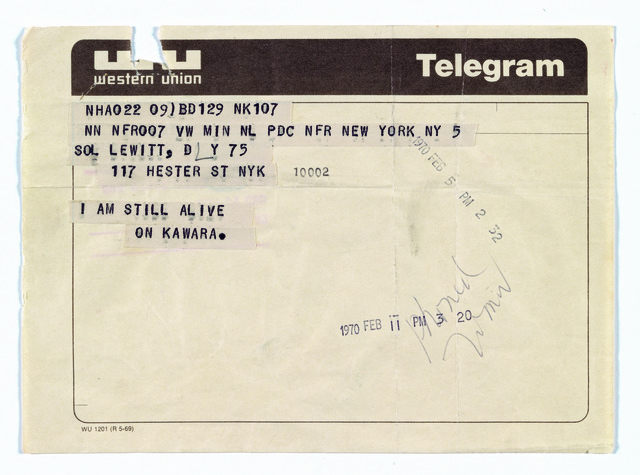 , 'Telegram to Sol LeWitt,' February 5-1970, Guggenheim Museum