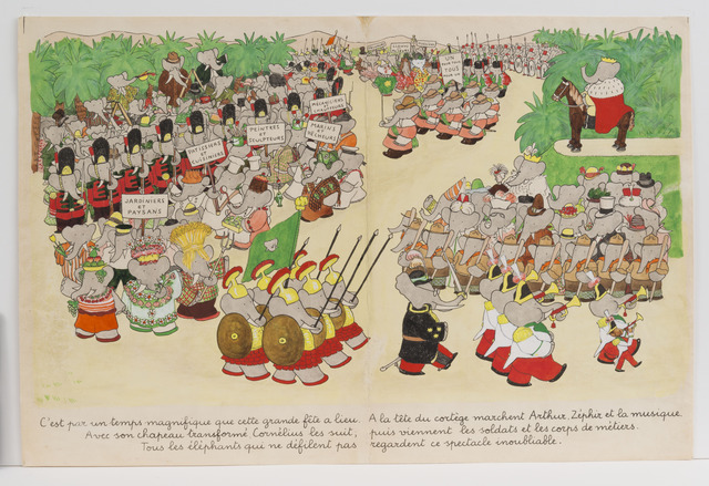 ", '""The weather is perfect for the day of the celebration,"" published illustration for Babar the King,' 1936, Mary Ryan Gallery, Inc"