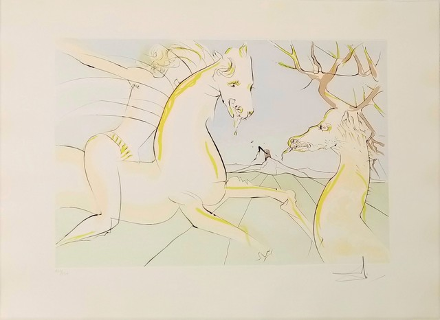 Salvador Dalí, 'The rider and the deer', 1974, Drawing, Collage or other Work on Paper, Original egraving + added color, Dali Paris