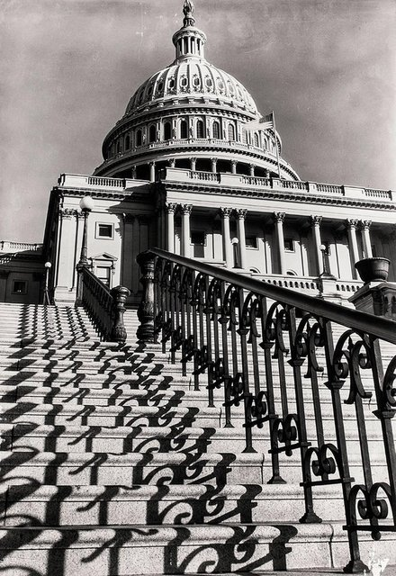 "Margaret Bourke-White, 'MARGARET BOURKE-WHITE (AMERICAN, 1904-1971): ""THE CAPITOL STEPS, WASHINGTON, D.C', 20th Century, Photography, Masonite, Black-and-white Print, Lions Gallery"
