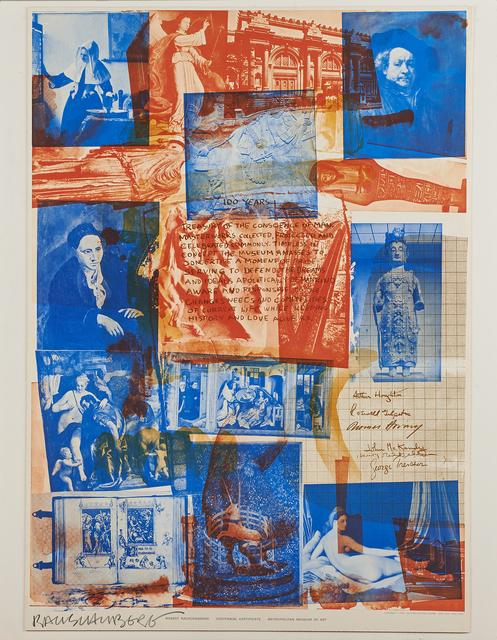 Robert Rauschenberg, 'Centennial  Certificate, The Metropolitan Museum of Art', 1970, Print, Offset lithograph in colors, Rago/Wright