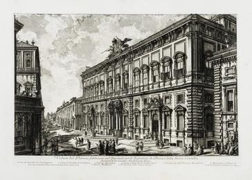 Veduta del Palazzo fabbricato sul Quirinale per le Segreterie de Brevi e della Sacra Consulta, from: Vedute di Roma