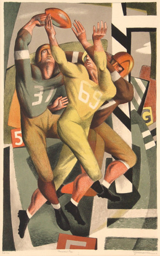 ", '""Forward Pass"" or ""Football"",' 1944, Catherine E. Burns Fine Prints"