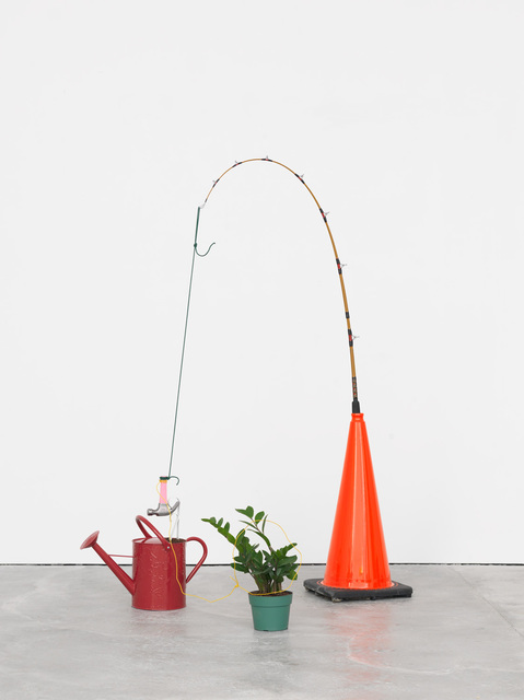 Nick Darmstaedter, 'Tropical Tease', 2015, Sculpture, Traffic cone, fishing pole, rope, hammer, shelf bracket, soil, watering can, wire, and potted plant, The Still House Group