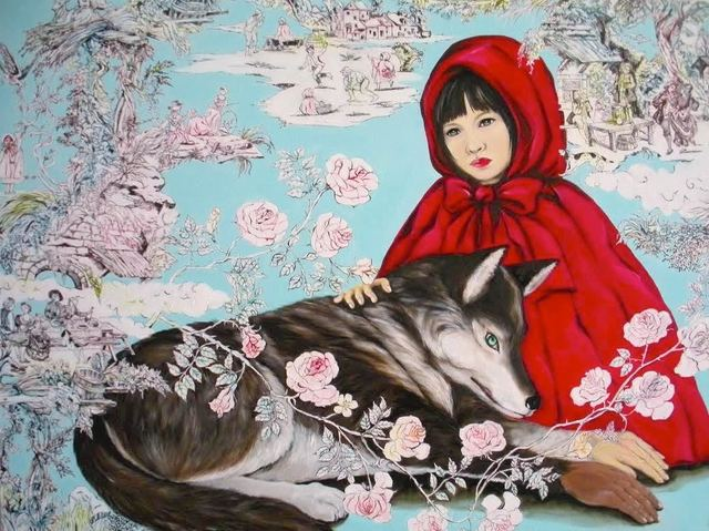 Ayakoh Furukawa, 'Little Red Riding Hood with an Odd-Hand Wolf', 2012, Painting, Oil, acrylic, and marker on canvas, Susan Eley Fine Art