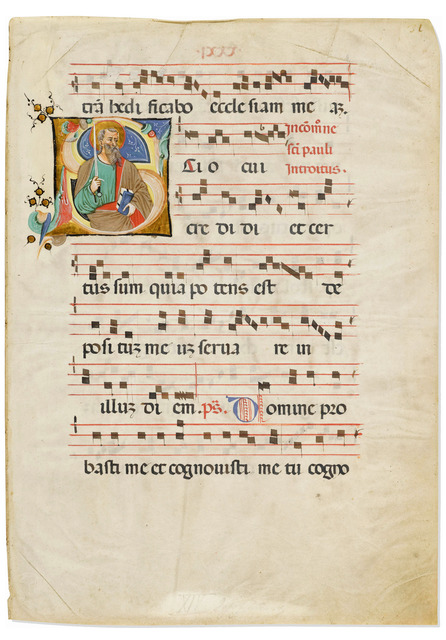 , 'Saint Paul in an initial 'S' on a leaf from a Medieval Gradual,' c. 1426-1430 , Les Enluminures