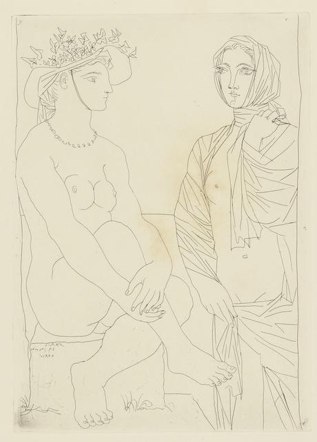 Pablo Picasso, 'Au bain. Femme au chapeau à fleurs et femme drapée dans une serviette (B. 210; Ba. 408)', 1934, Print, Etching, Sotheby's
