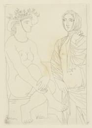 Au bain. Femme au chapeau à fleurs et femme drapée dans une serviette (B. 210; Ba. 408)