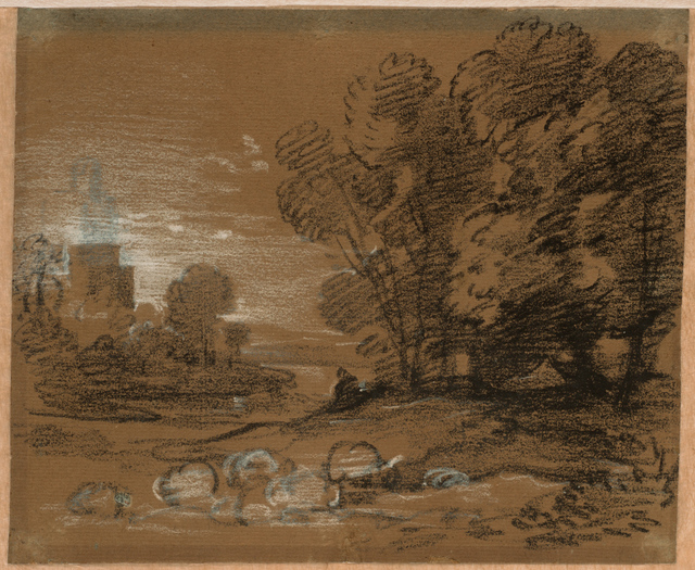 , 'Wooded Landscape with Shepherd and Sheep, Winding River and Tower,' Mid-to late 1770s, Clark Art Institute