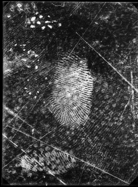 , 'Fingerprints found on oilcloth, Jost Grand-Chêne case, Lausanne, 25 November,' 1915, Nederlands Fotomuseum