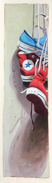 "Santiago Garcia, '""Converse #70"" Detailed Vertical oil Painting of Red and Blue Converse', 2010-2018, Eisenhauer Gallery"
