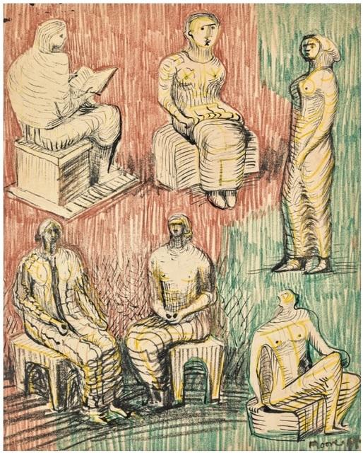 , 'Standing and Seated Figures,' 1948, Osborne Samuel