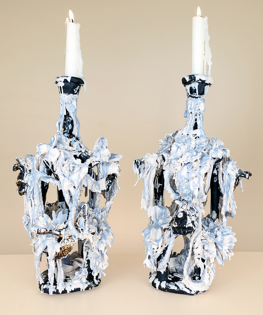 , 'Pair of Casually Iced Candelabras (blue, white, black),' 2014, Conduit Gallery