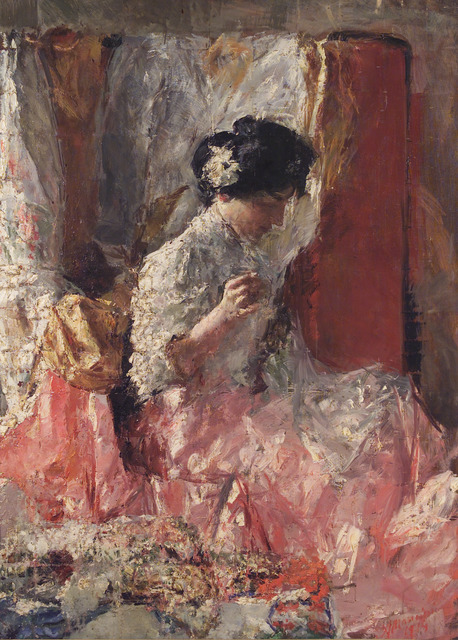Antonio Mancini, 'The embroiderer', 1914, Painting, Oil on canvas, Accademia Nazionale di San Luca