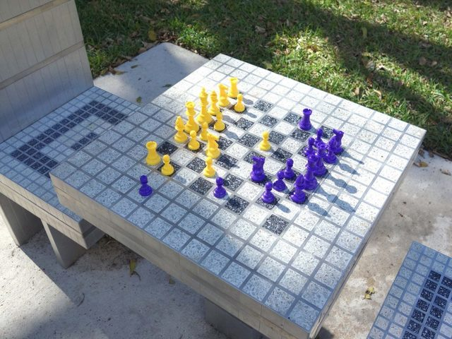 , 'Chess Tables,' 2014, The Bass