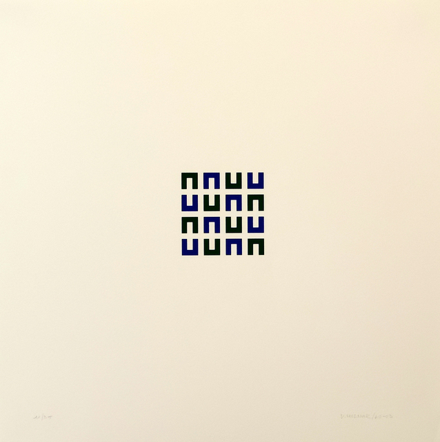 Vera Molnar, '16 Elements vert et bleu ', 1960-2003, Print, Serigraphie, Galerie La Ligne