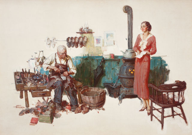 Saul Tepper, 'Woman Standing in Cobbler's Shop', The Illustrated Gallery