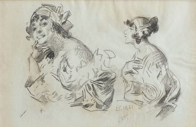 Sketch of a woman side profile, and Head studies of lady in bonnet