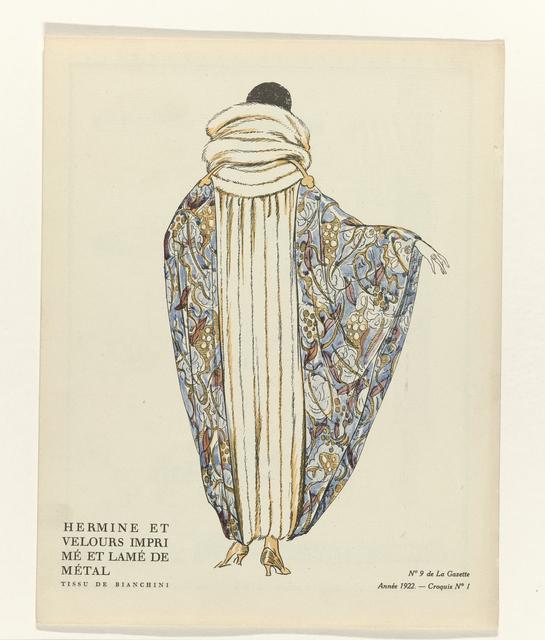 , 'No. 9: Hermine et velours imprimé et lamé de métal / Tissu de Bianchini (No.9: Hermine and printed velvet and lamé metal/fabric Bianchini),' 1922, Rijksmuseum