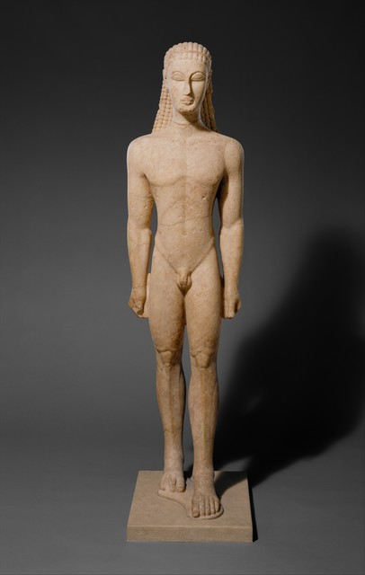 Unknown Greek, 'Marble statue of a kouros (youth)', ca. 590–580 B.C., The Metropolitan Museum of Art