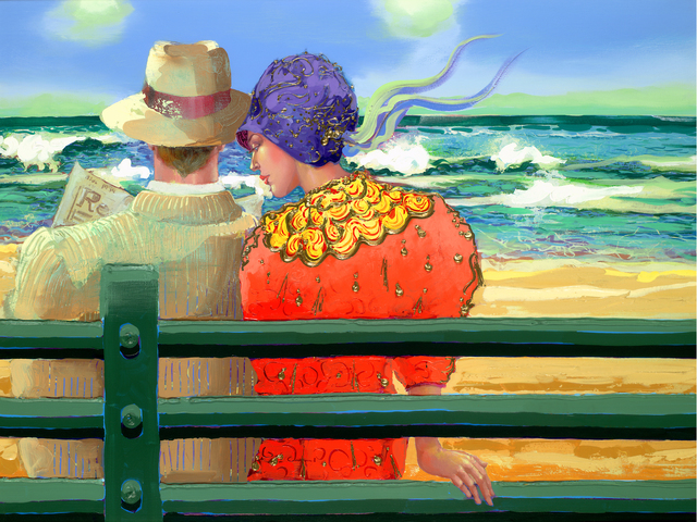 , 'Romance on a Bench,' , Florida Fine Art