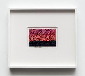 Hanalei Sunset (White Sand #10 Mandala, Dark Purple-Green-Turquoise-Red Mountain, Orange-Pink-Purple Sky)