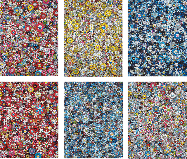Takashi Murakami, 'Dazzling Circus: Embrace Peace and Darkness within Thy Heart; MG; 1960->2012; Blue Flower & Skulls; Skulls & Flowers Red; Signal; and This Merciless World', 2010-2015, Phillips