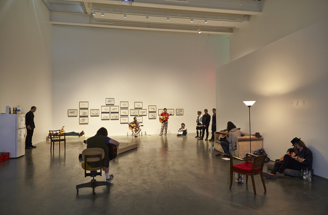 ", 'Installation view, ""Ragnar Kjartansson: Me, My Mother, My Father, and I,"" New Museum, 2014,' , New Museum"
