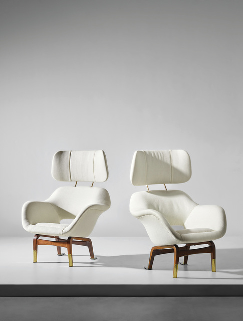 Ilmari Tapiovaara, 'Pair of rare armchairs with headrest, designed for the Hotel Marski, Helsinki', 1960-61, Phillips
