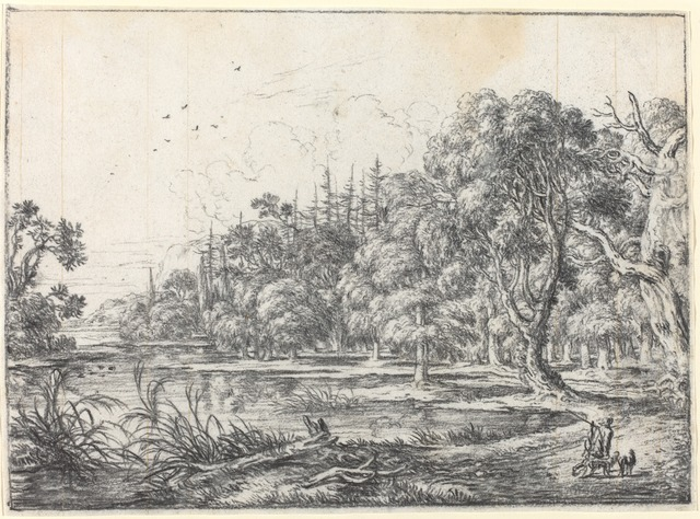Jonas Umbach, 'A Woodland Pond with a Hunter', Drawing, Collage or other Work on Paper, Black chalk on a ledger page lightly ruled with ink, National Gallery of Art, Washington, D.C.