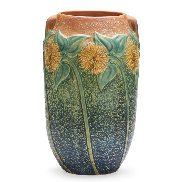 """Roseville Pottery, '10"""" Sunflower Vase, Zanseville, OH', 1930, Rago/Wright"""