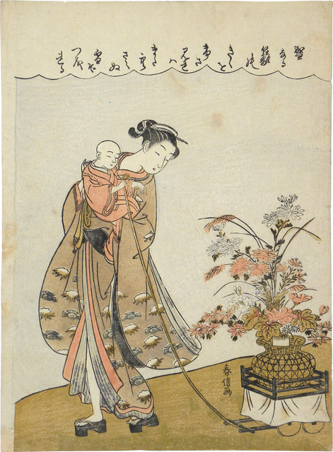 , 'Young Beauty Carrying a Child Pulling a Flower Cart,' ca. 1770, Scholten Japanese Art