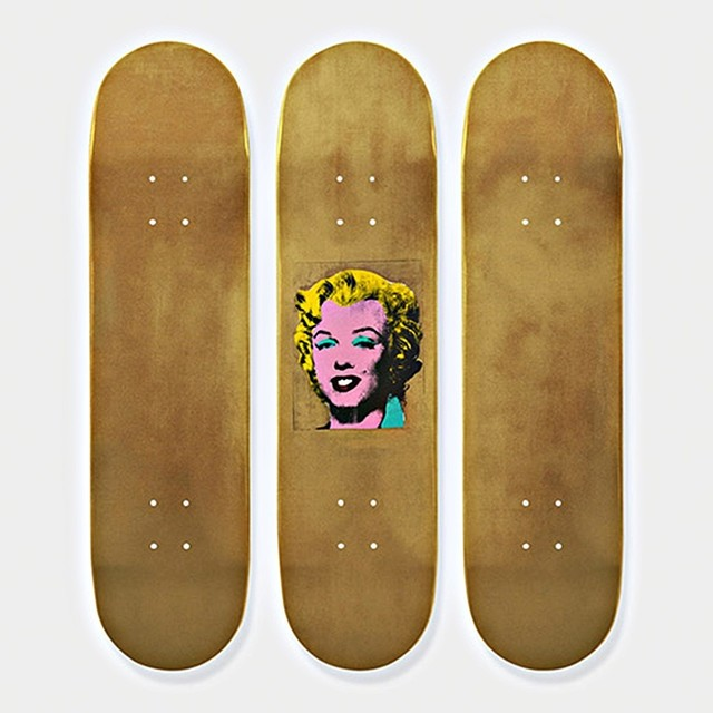 , 'Gold Marilyn Monroe Skateboard Triptych (Limited Edition Set of Skateboards with signed COA),' 2015, Alpha 137 Gallery
