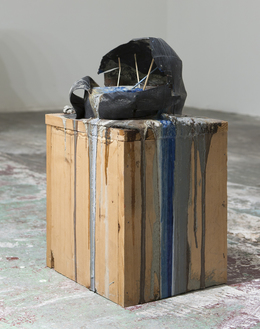 , 'Imploded Ball Barf(pitched bladder, blue and grey),' 2011, Nina Johnson