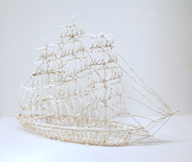 , 'Bone Clipper Ship 1,' , Burning in Water