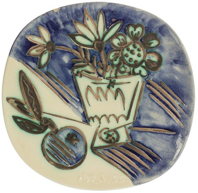Pablo Picasso, 'Bouquet à la pomme', 1956, Design/Decorative Art, Terre de faïence plate, partially glazed and painted, Heritage Auctions