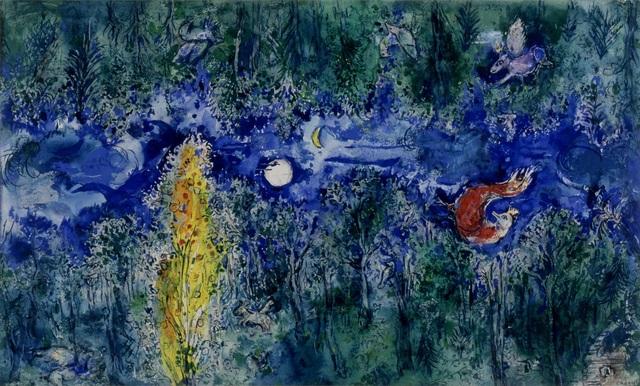 """Marc Chagall, 'Model for the curtain in the first act of """"The Firebird"""" by Stravinsky: The Enchanted Forest (Maquette pour le rideau de scène du 1er acte de """"L'Oiseau de feu"""" de Stravinsky: La forêt enchantée),' 1945, Dallas Museum of Art"""