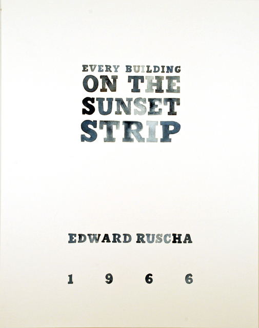 , 'Ed Ruscha's Every Building on the Sunset Strip, title page,' 2016, Morgan Lehman Gallery