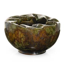 Vessel with folded-in rim, green, ochre, gunmetal, and raspberry sponged-on glaze, Biloxi, MS