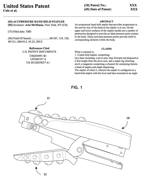 , 'Acustapler Patent Paperwork,' 2017, AA LA