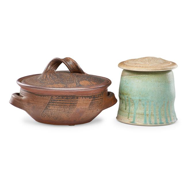 Karen Karnes, 'Covered casserole and lidded jar, Morgan, VT', 1980s, Design/Decorative Art, Salt-glazed stoneware, Rago/Wright