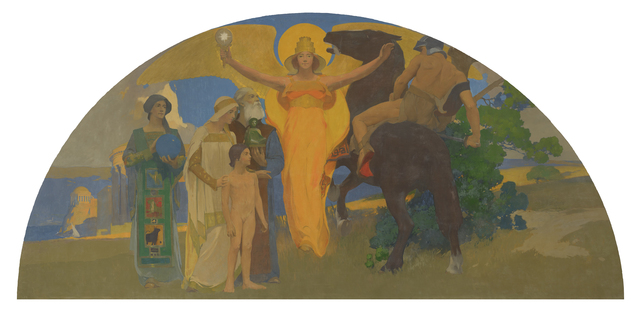 Arthur Frank Mathews, 'The Victory of Culture over Force (Victorious Spirit)', 1914, de Young Museum