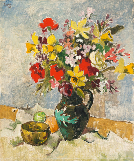 Gregoire Johannes Boonzaier, 'Still Life with Vase of Flowers, Bowl and Fruit', 1957, Strauss & Co